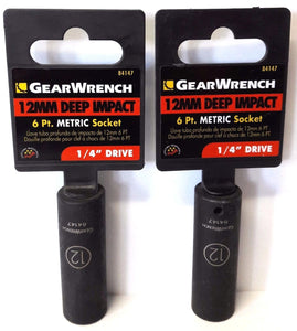"Gearwrench 84147 1/4"" Drive 6 Point Deep Impact Socket 12mm 2PCS"