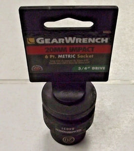 "GearWrench 84831 3/4"" Drive 6 Point Standard Impact Metric Socket 20mm"