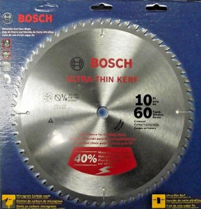 "Bosch CBCL1060 10"" x 60T Ultra Thin Kerf Carbide Saw Blade & 5/8"" Arbor Japan"