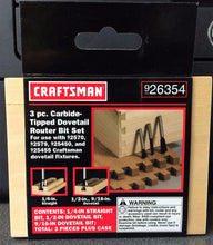 "Craftsman 26354 3 Piece Carbide Tipped Dovetail Router Bit Set 1/4"" Shank"
