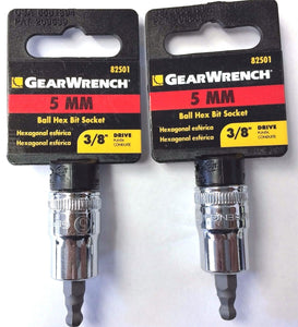 "Gearwrench 82501 5MM Ball Hex Bit Socket 3/8"" Drive (2PCS)"