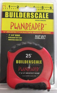"Builderscale 52625 Planreader 25' Tape Measure and 1"" & 1/4"" Architect Scale USA"
