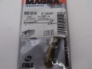 "Magna M91014 5/8'' x ¼'' 2 Flute Straight Router Bit  ¼"" Shank USA"