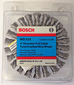 "Bosch WB 535 4"" Diameter Full Cable Twist Knotted Wire Wheel USA"