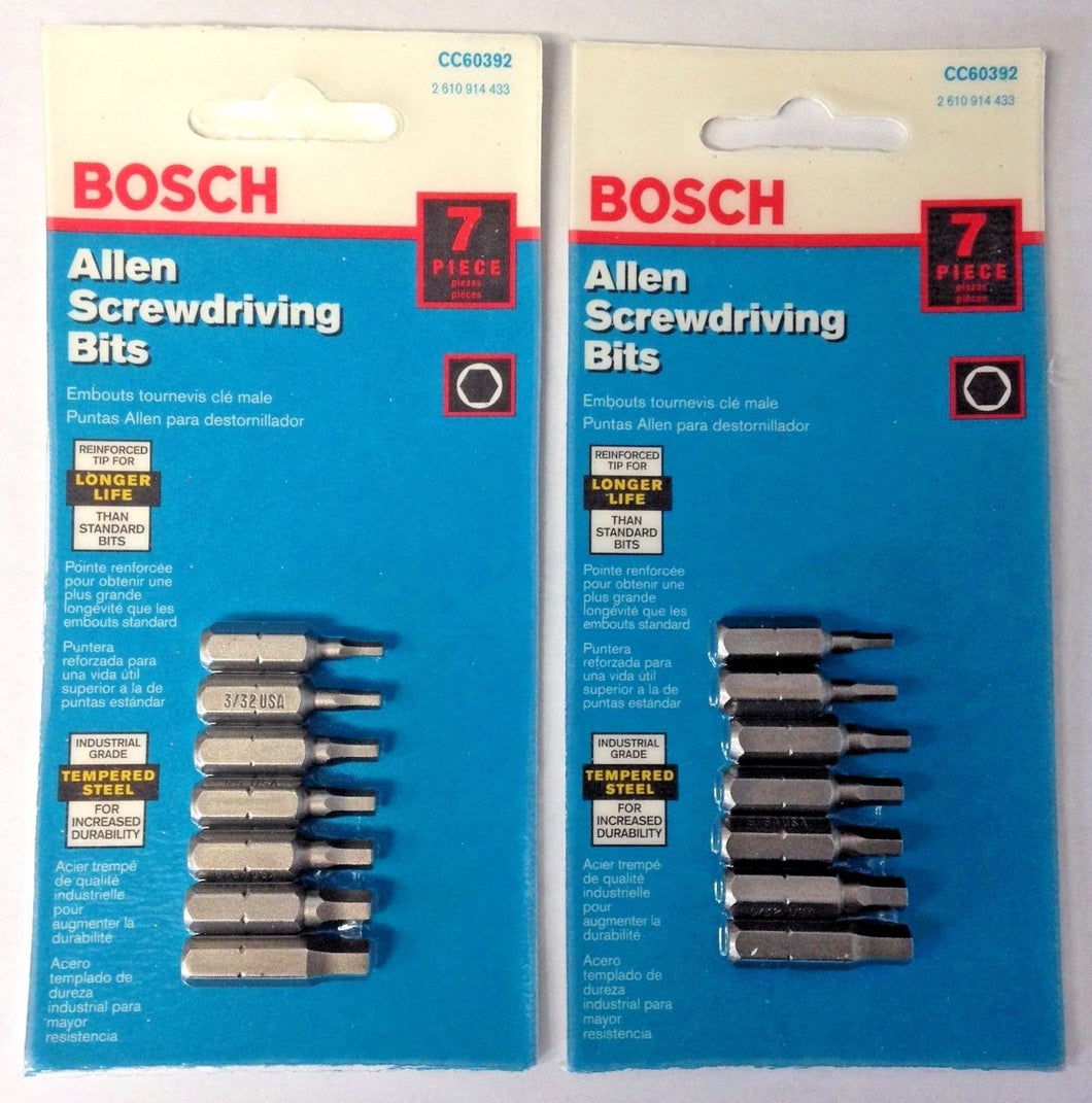 Bosch CC60392 7 Piece Clic‑Change Chuck & Bits Set (Screwdriving Bits) USA 2PKS