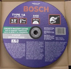 Bosch CWPS1C1220 Concrete & Masonry Cutting Wheel 12 x 5/32 x 20mm 10Pcs Germany