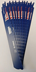 "Bosch Daredevil DRECM9X2 9"" x 14+18 TPI Thin Metal Reciprocating Blades 10 Pack"