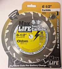 "Oldham 650C418 6-1/2"" x 18 Tooth Super Duty Carbide Saw Blade Univ. Arbor Carded"