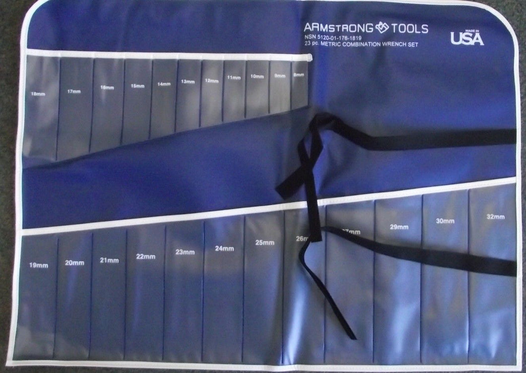Armstrong NSN-1819 Vinyl Roll 23 Pockets Wrench Tool Roll Holder (No Tools) USA