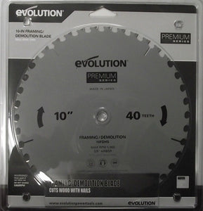 "Evolution 10FDHS 10"" x 40 Tooth Framing Demolition Blade Saw Blade Japan"