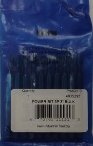"Irwin Phillips Power Bit #3  3""  Long (10pack) 4935292"