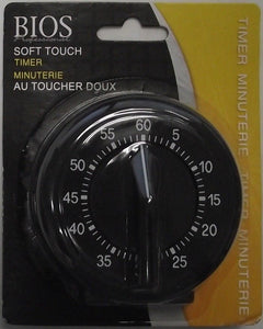 Bios DT125 60min Kitchen Cooking Timer Mechanical Rubberized Soft To Touch Black