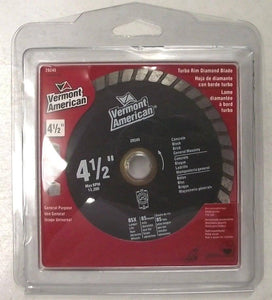 "Vermont American 29245 4-1/2"" Turbo Rim Diamond Saw Blade"