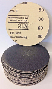"3M 21017 Resinite Coated Type E 5"" x 1/4"" 80 Grit Floor Surfacing Discs 50 Pack USA"