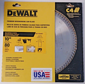 "Dewalt DW71080MT 10"" x 80 Teeth Solid Surface & Plastics Thin Kerf Saw Blade USA"