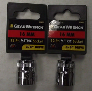 "Gearwrench 80492 3/8"" Drive 12 point Socket 16mm 2pcs."