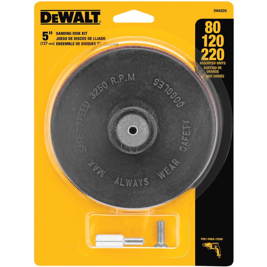 Dewalt DWASD5 3-Pack Multi Grade 5-in W x 5-in L PSA Sanding Disc Kit
