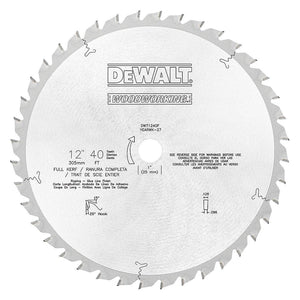 "Dewalt DW71240F 12"" x 40 Tooth x 20 Degree FTG Carbide Saw Blade USA"
