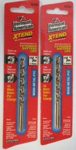 "Vermont American 12742 15/64"" Xtend Drill Bit 2 Pack"