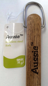 "Aussie 009-06-0161 18"" Stainless Steel Fork with Wood Handle"