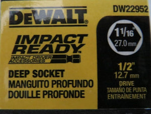 "DeWalt DW22952 1-1/16"" Impact Ready Deep Socket 1/2"" Drive 6 Point"