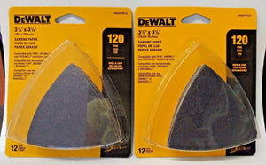 DeWalt DWASPTRI123 12 Pack Hook & Loop Triangle 120 Grit Sandpaper 2PKS