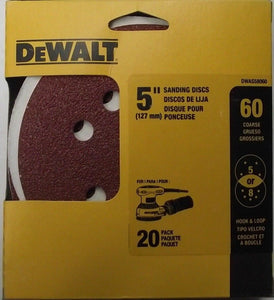 "Dewalt DWAS58060 5"" 5 or 8 Hole Sanding Discs 60 Grit Hook & Loop 20pk"