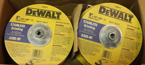 "DEWALT DW8419 9"" x 1/4"" x 5/8""-11 Stainless Angle Grinding Wheel Type 27 10pcs."
