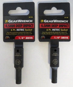 "GearWrench 84138 4.5 MM Deep Impact 6 Point Metric Socket 1/4"" Drive 2PCS"