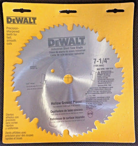 "Dewalt DW3327 7-1/4"" x 60 Tooth Hollow Ground Planer Steel Saw Blade 5/8"" Arbor"