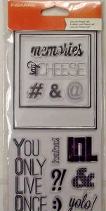 Fiskars 103770-1001 Clear Stamps Say Cheese  Memories YOLO!, haha