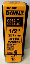 "DeWalt DD4132B6 1/2"" Cobalt Screw Machine Drill Bits 6 Pack"