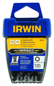 Irwin 1899945 Impact Performance T20 Impact Screwdriver Insert Bits 20 Pack