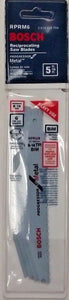 "Bosch RPRM6 6"" x 8-14 TPI Reciprocating Saw Blades / Metal Cutting 5 Pack Swiss"