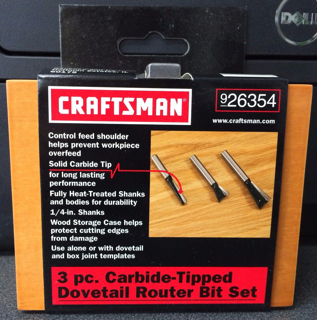 Craftsman 26354 3 Piece Carbide Tipped Dovetail Router Bit Set 1/4