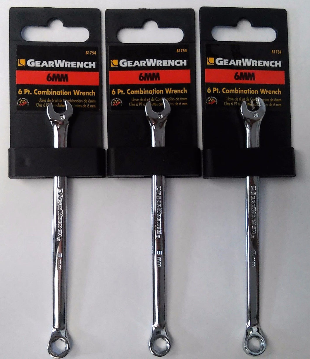 Gearwrench 81754 6mm 6 Point Full Polish Combination Wrench (3pcs)
