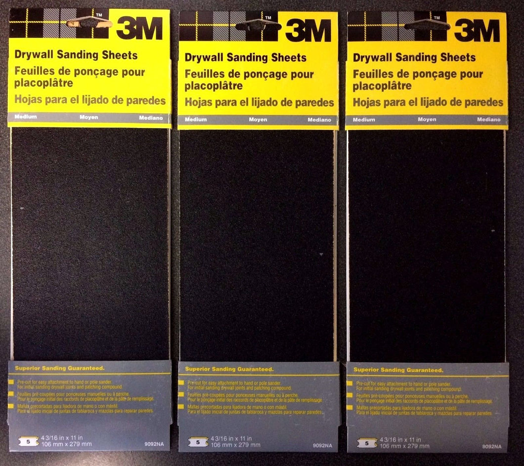 3M 9092NA Med Drywall Sanding Sheet Sandpaper 4-3/16 X 11 3 Packs of 5 Sheets