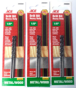 "ACE 2000081 1/8"" Heavy Duty Drill Bits 3-2 Packs"