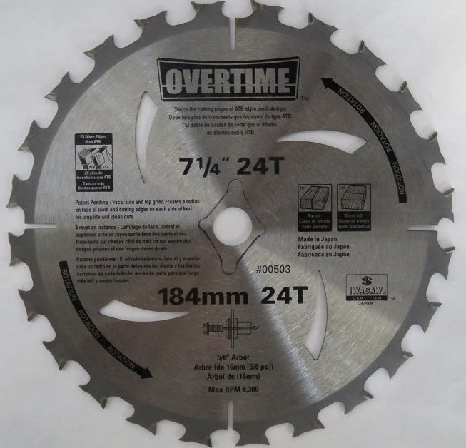Overtime 00503 7-1/4 x 24T Circular Saw Blade 5/8