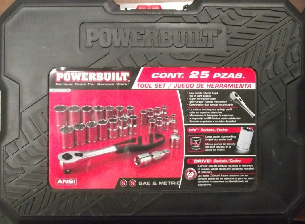 Powerbuilt 941108M 25pc Socket Set SAE & Metric