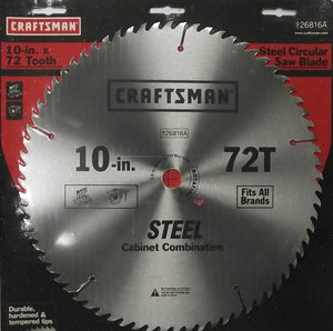 "Craftsman 26816A 10"" x 72 Tooth Saw Blade Heat-Treated Steel"