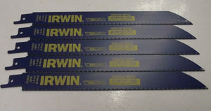 "Irwin 372818 8"" 18 TPI Bi-Metal Reciprocating Saw Blades. 5pcs. USA"