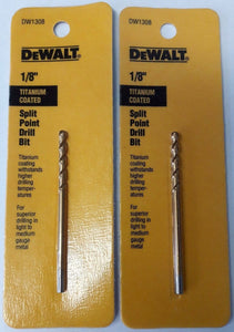 "DeWalt DW1308 1/8"" Titanium Coated Speed Tip Split Point Drill Bit 2PKS"