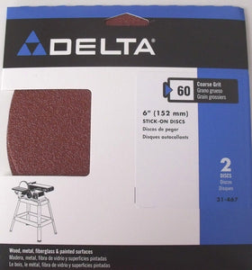 "Delta 31-467 6"" Self-Adhesive Sanding Disc (2-pack) 60 Grit"