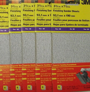 "3M 9112NA 3-2/3"" x 7-1/2"" 120 Grit Finishing Sander Sheets 25 Sheets ( 5-5 PKS)"