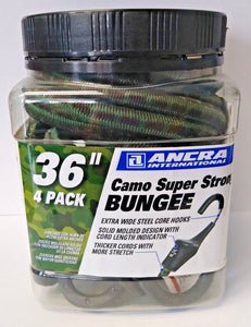 "Ancra 95730 36"" Camo Super Strong Bungee Cords 4 Pack"