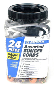 Ancra 95724 Assorted Bungee Cords Gray 24-Piece