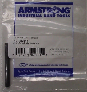 "Armstrong 94-111 3/16"" Replacement Hex Bit For Socket USA"