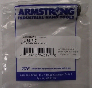 "Armstrong 94-217 Replacement Hex Bit 1/2"" Drive x 1/2"" USA"