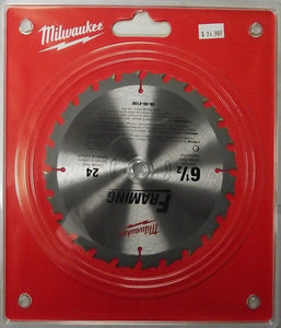"Milwaukee 48-40-4108 6-1/2"" x 24 Carbide Tooth Saw Blade Clamshell Japan"